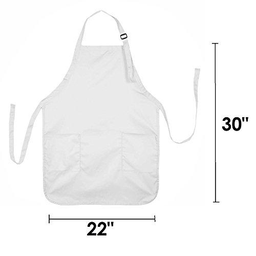 31adlOWHiAL - DALIX Apron Commercial Restaurant Home Bib Spun Poly Cotton Kitchen Aprons (2 Pockets) in White 72 Pack