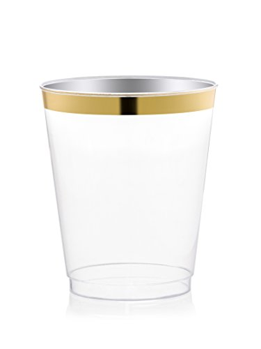 DRINKET Gold Plastic Cups 8 oz Clear Plastic Cups / Tumblers Fancy Plastic Wedding Cups With Gold Rim 50 Ct Disposable For Party Holiday and Occasions SUPER VALUE PACK (Shiny Gold Plate)