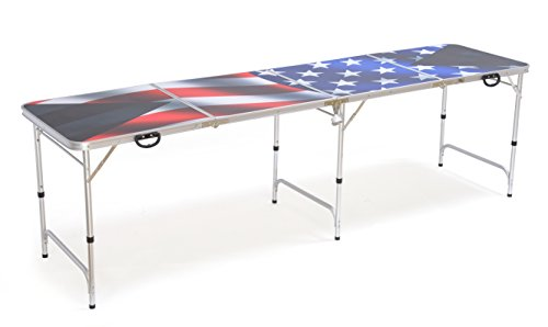 8' Folding Beer Pong Table with Bottle Opener, Ball Rack and 6 Pong Balls - American Flag Design - By Red Cup Pong