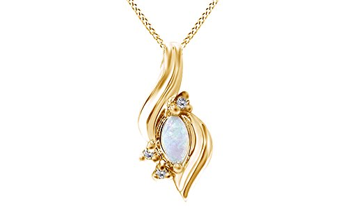 Gold Fancy Solitaire (Marquise Opal Fancy Diamond Solitaire Accent Pendant 10K Solid Yellow Gold (1/4)