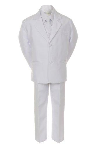 Unotux Boy White 5pc Formal Easter Baptism First Communion Tuxedo Suit Vest S-20 (10) -