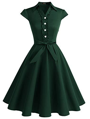 Wedtrend Women's 1950s Retro Rockabilly Dress Cap Sleeve Vintage Swing Dress WTP10007ForestGreenL