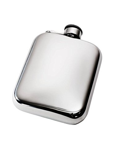 Wentworth Pewter- Plain 6oz Pewter Cushion Pocket Flask with Captive Top, Spirit Flask
