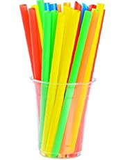 DierCosy Tools Plastic rietjes afzonderlijk verpakt kleurrijke rietjes 20 cm lang voor Boba Milkshake Slushies willekeurige kleur 50 stuks