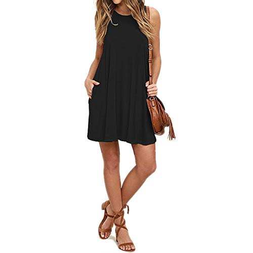 Mifidy Loose Tank Dress, Women's Simple Dresswear Long Sleeve Pleated Loose Swing Casual Dress with Pockets Over Knee Length with Gift for Girlfriend(X-Large,Black)