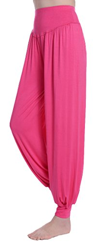 Urban CoCo Womens' Solid Color Soft Elastic Waistband Fitness Yoga Harem Pants (Large, (Rose Knit Pants)