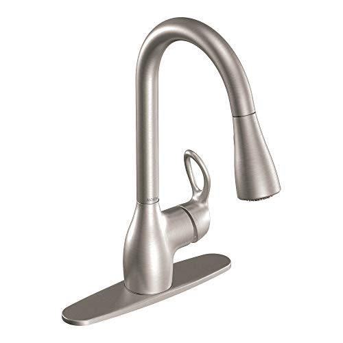 (Moen CA87011SRS Single Handle Kitchen Faucet with Pullout Spray from the Kleo Collection, Spot Resist Stainless)