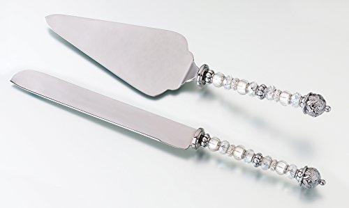 SALE - LILLIANROSE Beaded Knife and Cake Server Silver