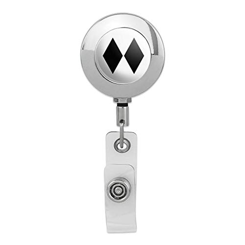 Double Black Diamond Skiing Experts Only Retractable Reel Premium Metal Chrome Badge ID Card Holder - Double Reel Badge