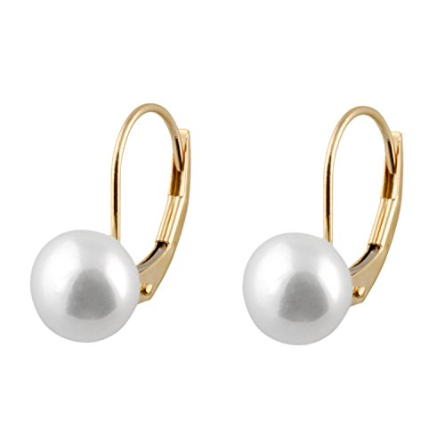 Handpicked AAA+ 6-6.5mm White Button Freshwater Cultured Pearls in 14K Yellow Gold Lever-back Huggie Ball Earrings ()