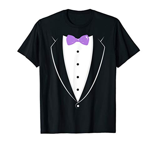 Black And White Tuxedo With Lavender Bow tie Novelty T Shirt