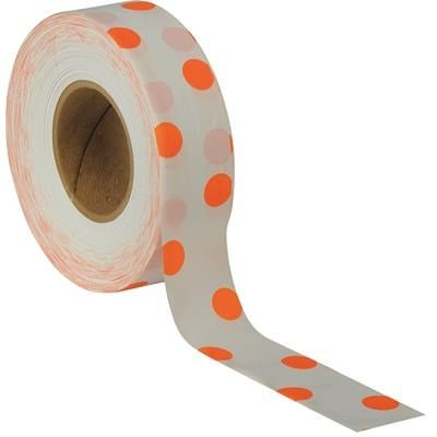 PRESCO Matte Polka-Dot Flagging Tape, Orange on White By Tabletop King by Tabletop King