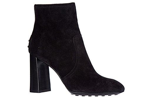 Tod's stivaletti stivali donna con tacco camoscio t95 nero