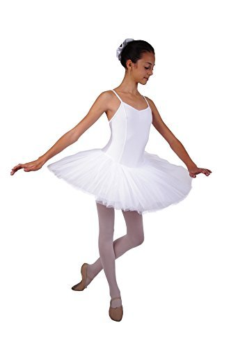 Ballett Tutu 5-lagig (Plateau), Tanztutu Ballett Tütü mit angenähtem Trikot mit Spaghettiträgern von Danceries U03 Isabelle
