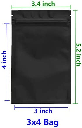 Cherodada 100 Pcs Smell Proof Bags Resealable Flat Ziplock Bag Food Safe Storage Bags (Matte Black, 3x4 Inch)