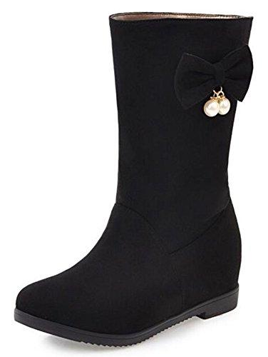 IDIFU Womens Retro Bows Faux Suede Mid Calf Riding Boots With Hidden Heels Black IufBQ