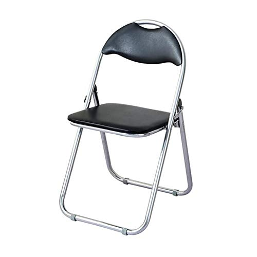 GLJJQMY Chair Stool Folding Black Filled Desk Tubular Steel Leather Frame Stacking Chair (Color : T1, Size : 4xfolding Chairs)