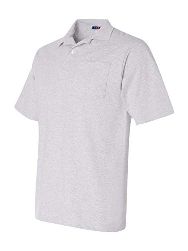 436 Jerzees Adult Jersey Pocket Polo with SpotShield Ash (50/50) - Medium