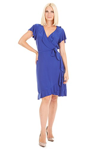 Tiana B Women's Jersey Wrap Dress with Ruffle Sleeve and Hem Royal L