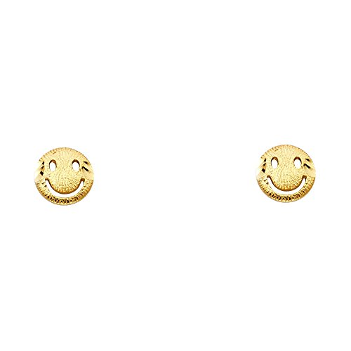(Solid 14k Yellow Gold Smiley Face Stud Earrings Round Happy Face Studs Polished Small Cute! 7 x 7 mm)