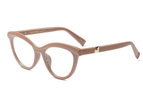 Allt Vintage Cat Eye Optical Eyewear Half Tinted Frame Mod Eyeglasses with Clear Lenses for Women (Coffee ()