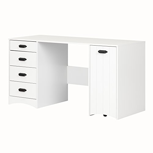 Cheap South Shore Artwork Sewing Craft Table with Storage Drawers and Scratchproof Surface, Pure White