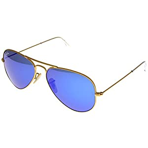 Ray Ban Sunglasses Aviator Gold/ Blue Mirrored Lens Unisex RB3025 112/17 58