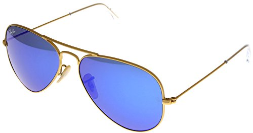 Ray Ban Sunglasses Aviator Gold/ Blue Mirrored Lens Unisex RB3025 112/17 - Mirrored Ray Sunglasses Aviator Ban