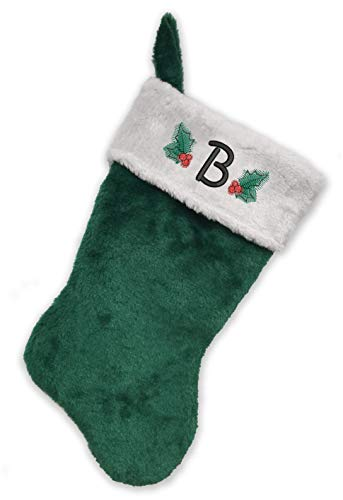 Monogrammed Me Embroidered Initial Christmas Stocking, Green and White Plush, Initial B ()
