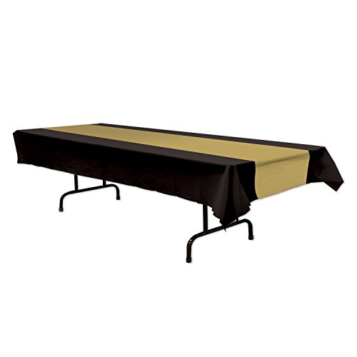 Beistle 57940-BKGD Black and Gold Tablecover, 54 Inch by 108