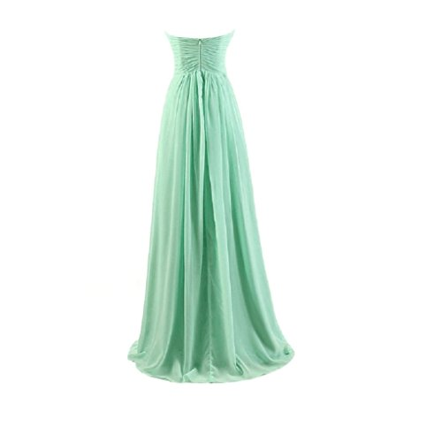 GlorySunshine Strapless Sweetheart Chiffon Bridesmaid Dresses Long Evening Gowns (L, Mint Green)