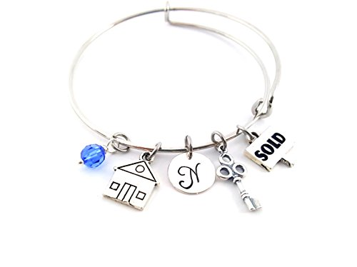 Realtor Bracelet - Real Estate House and Key Adjustable Bangle - Birthstone Bracelet - Personalized Jewelry - Gift For Her