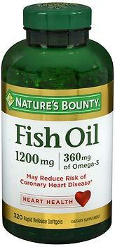 Nature's Bounty Omega-3 Fish Oil 1200 mg Softgels 320 ea