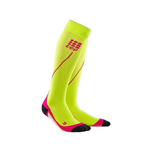 Womens Running Compression Socks - CEP Long 2.0 (Lime/Pink) II