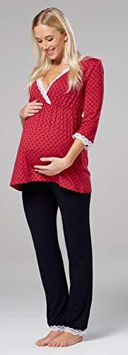 Happy 591p Con Cuori Lampone Separatamente Venduti Vestaglia Premaman pigiama Mama camicia Notte rWv8rz7q