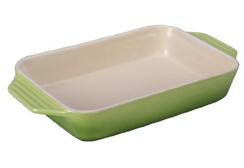 Le Creuset Stoneware Rectangular Dish, 12.5 by 8.25-Inch, Palm
