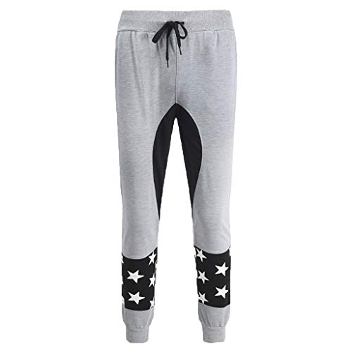 Allywit Men's Star Printed Sports Pant Fashionable Loose Comfortable Fitness Exercise Pant Gray by Allywit-Pants (Image #1)
