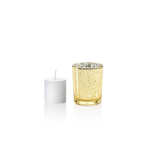 Yummi Set of 36 10 hour Votive Candles & Metallic Holders, Gold Metallic (Gold Hour)