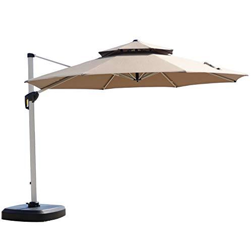 PURPLE LEAF 11 Feet Double Top Round Deluxe Patio Umbrella Offset Hanging Umbrella Outdoor Market Umbrella Garden Umbrella, Beige (Rectangular Offset 11' Patio Umbrella)