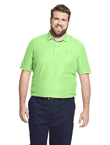 IZOD Men's Big and Tall Advantage Performance Short Sleeve Solid Polo Shirt, Patina Green, 2X-Large Big