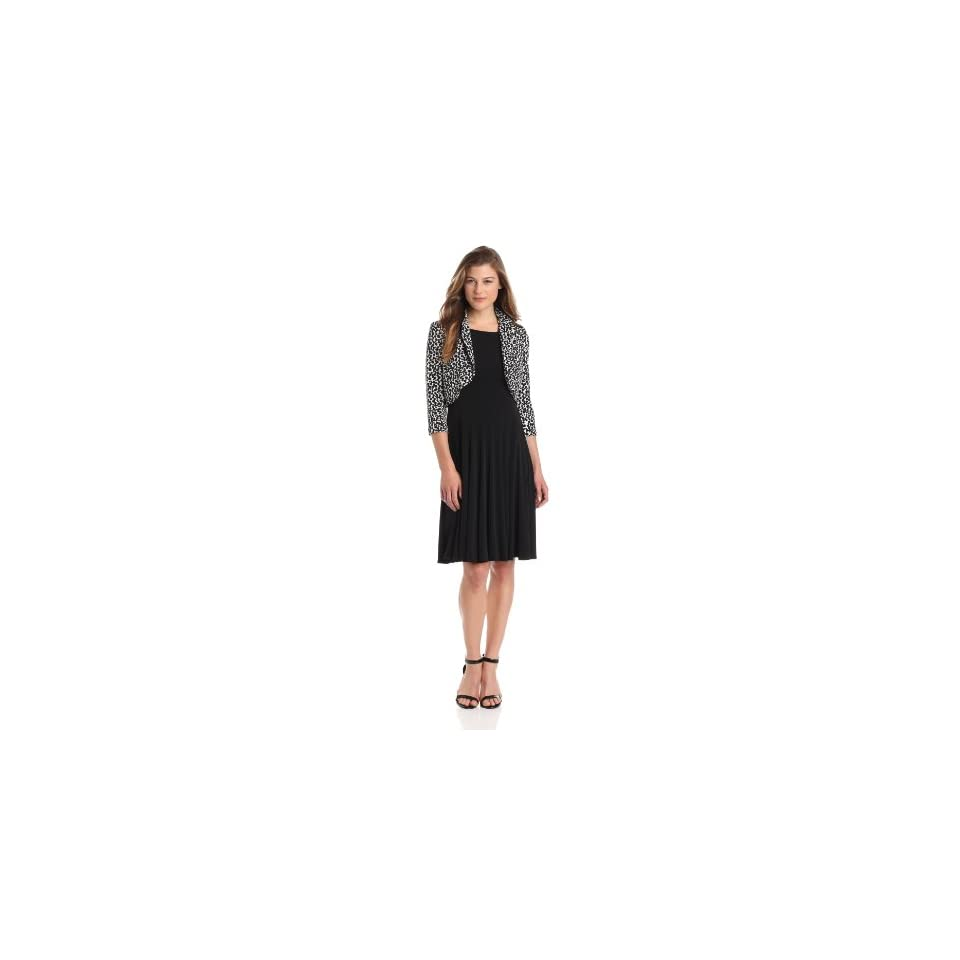 Jessica Howard Womens 3/4 Sleeve Bolero Jacket Dress, Black/Ivory, 10