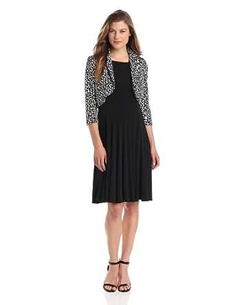 Jessica Howard Women's 3/4 Sleeve Bolero Jacket Dress