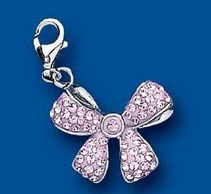 Diseño de lazo rosa pulsera de plata de ley