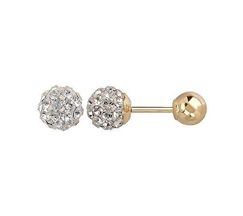 Clear Crystal Reversible Stud Earrings in 14K Yellow Gold (Reversible 14k Crystal)