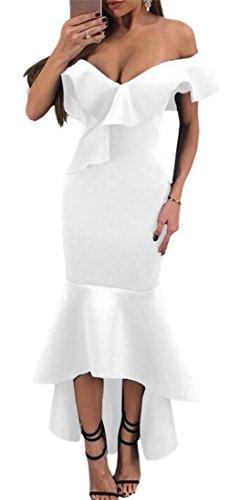 Vestito Manica Di Bodycon Corta Colore Moda Solido Arruffato Donne Jaycargogo Bianco RrSgnRq