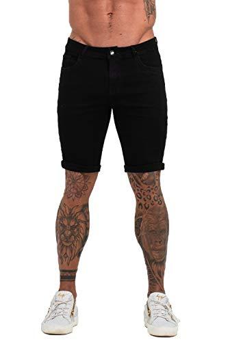 - GINGTTO Black Denim Shorts for Men Short Jeans Slim Fit Mens Hemmed Shorts Jeans 36