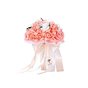 Bodarind Handmade Wedding Bridal Bouquet Artificial Flowers Rose with Fake Pearl and Ribbon for Bridesmaid Bride (Lotus) 67
