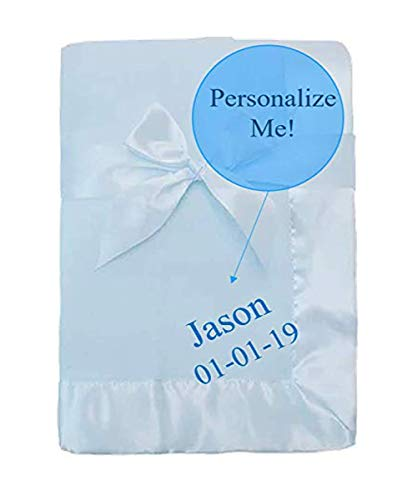 Personalized Custom Soft Fleece with Satin Border Embroidered Baby Blanket for Christenings, New (Baby Blue) -