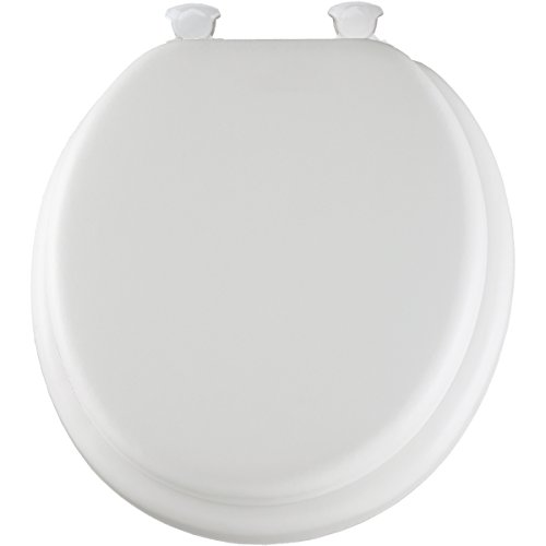 MAYFAIR Soft Toilet Seat Easily Remove, ROUND, Padded with Wood Core, White, 13EC 000