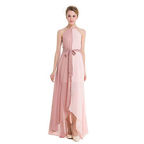 Sungpunet Women Pink Long Maxi Halterneck Gown Chiffon Sleeveless Summer Bridesmaid's Dress